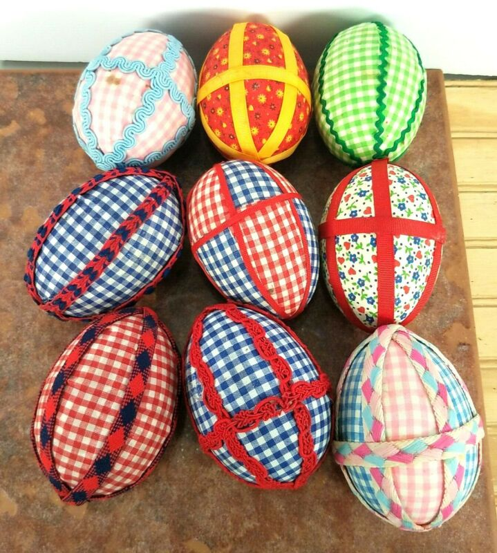 VINTAGE QUILTED PATCHWORK Lot of 9 EASTER Fabric Covered Decorated Eggs See PICS