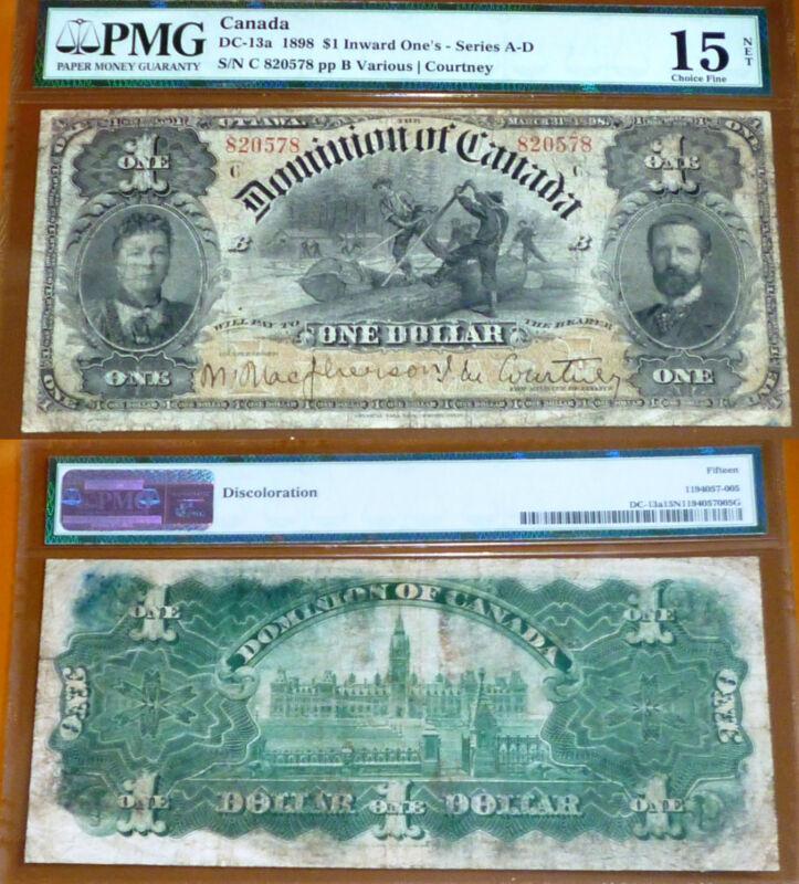 PMG Graded -  1898 CANADA  Banknote $1 -  Dominion  Of  Canada -  DC-13a
