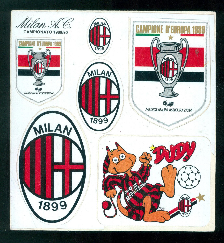 FOGLIO CON 6 ADESIVI UFFICIALI MILAN A.C. CAMPIONATO 1989/90 CALCIO SPORT
