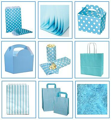Baby Blue Candy (Light Baby Blue ~ Gift Bags ~ Spotty & Stripe Candy Sweet Bag ~ Party Supplies )