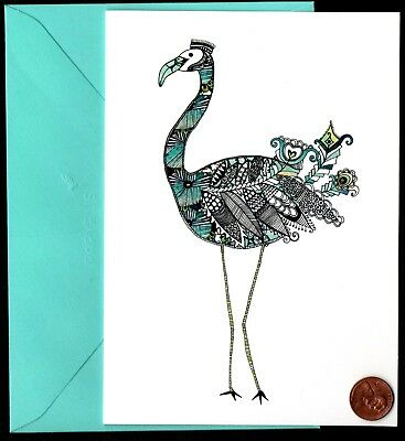 PAPYRUS Ornate Flamingo Bird Feathers Turquoise - Blank Note Greeting Card - NEW