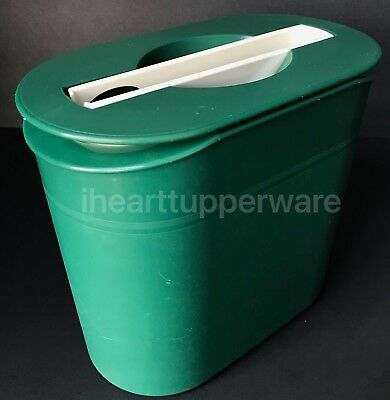 Tupperware Ice Bucket with Tongs Oval Green & White Insulated Double Wall #2444