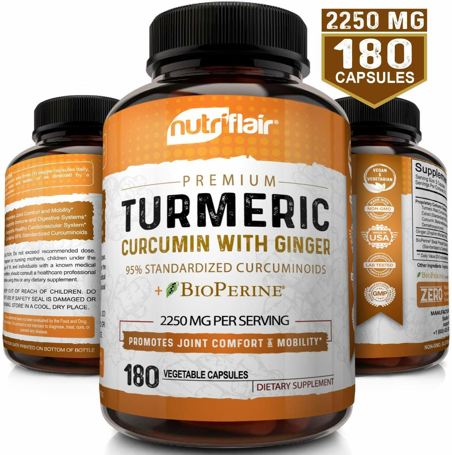 Turmeric Curcumin with Ginger & BioPerine Joint Pain 2250 mg
