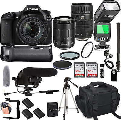 Canon EOS 80D with 18-135mm is USM + Tamron 70-300mm + Pro Filters,(24pc Bundle)