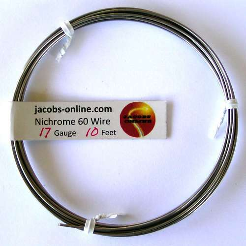 Nichrome 60 resistance wire, 17 AWG (gauge), 10 feet