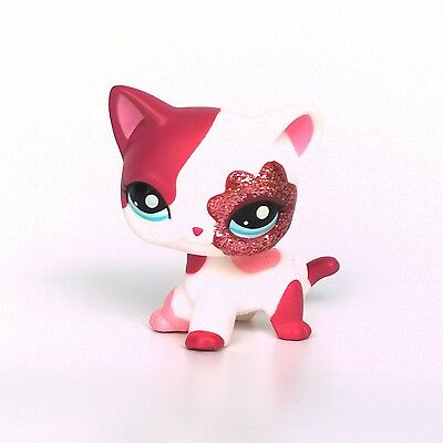 lps cat Pink White Sparkle Glitter Littlest Pet Shop Short Hair cat kitty #2291