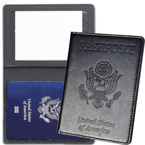 Leather Passport Vaccine Card Passport Holder Travel Wallet Blocking Case Cover
