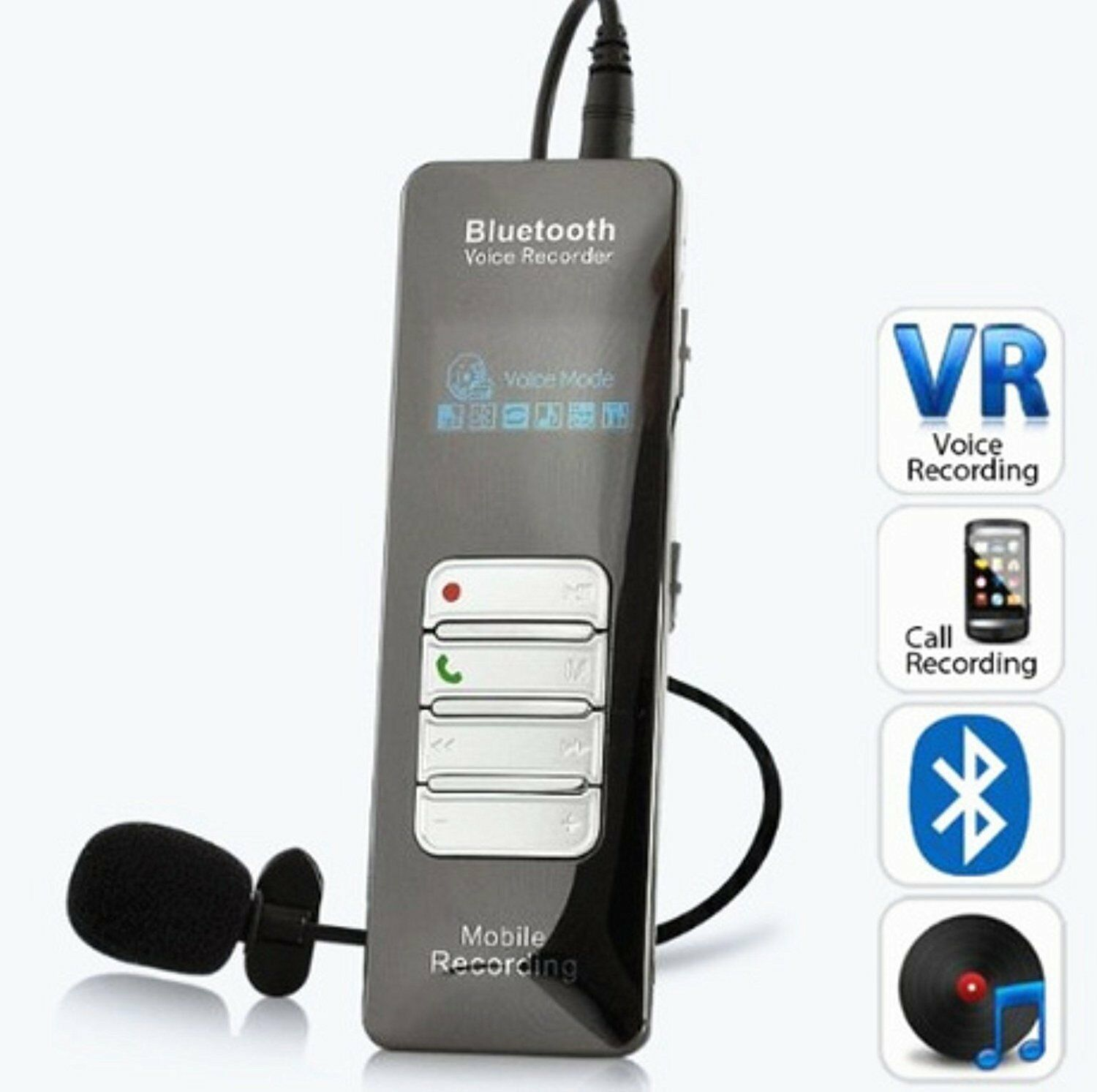 NEW 4GB Voice & Call MOBILE PHONE RECORDER with Bluetooth, One-button Recording