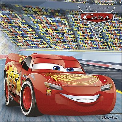 DISNEY CARS 3 PACK OF 20 NAPKINS PARTY TABLEWARE LIGHTNING MCQUEEN NEW ()