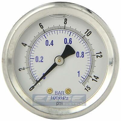 Liquid Filled Pressure Gauge 0-15 Psi 2 Face 14 Back Mount