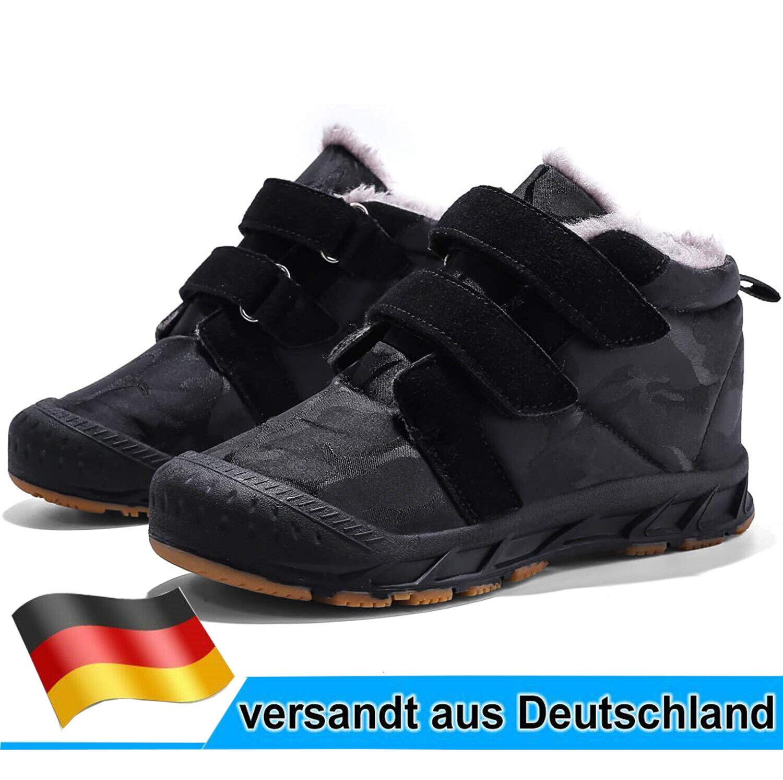 Kinder Schuhe Stiefel Stiefeletten für Jungen Boots Winterschuhe Gr28-38 Schwarz