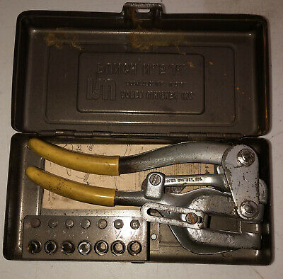 Vintage Roper Whitney No.5 Jr Hand Punch In Case W Punches Dies