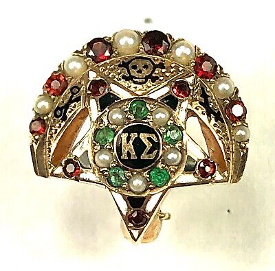 1955 Kappa Sigma Fraternity Pin, 10K Gold, Pearls, Emeralds, Rubies, $4 Ships