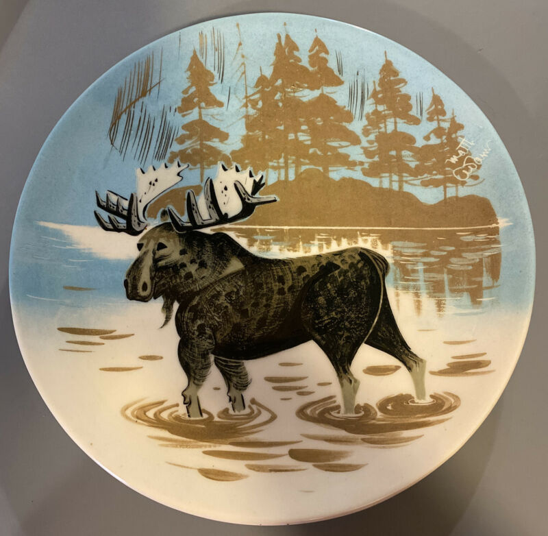 """Vintage Matthew Adams Moose Plate Tray Signed Alaska Pottery Hand Crafted 11.5"""""""