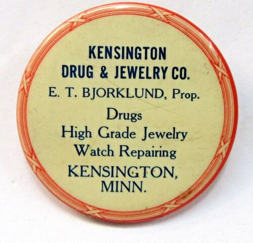 circa 1910 KENSINGTON DRUG & JEWELRY CO. Minnesota celluloid pocket mirror *