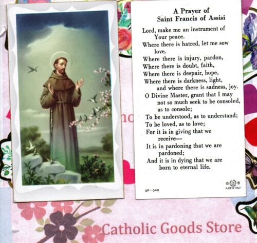 Saint St. Francis of Assisi Peace Prayer- Paperstock Holy Card
