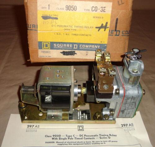 SQUARE D 9050 CO3E DC PNEUMATIC TIMING RELAY 9050C03E COIL 115VDC 9050 CO-3E NEW