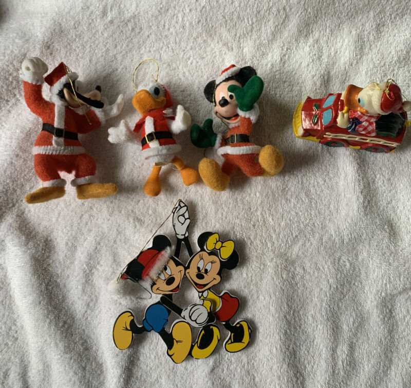 Disney 5 Vintage Christmas Ornaments Flocked Mickey Minnie Donald in Fire Truck