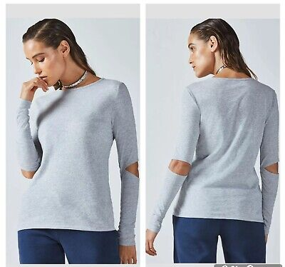 """Fabletics """"Alexa L/S"""" Cotton Jersey Knit Active Long Sleeve Tee Gray -Size Large"""