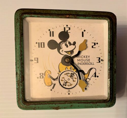 Original Ingersoll MICKEY MOUSE 1933-34 Wind-Up Clock 1st Made in England Works!