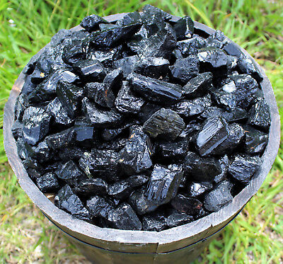 Black Tourmaline Rough Natural Stones: 1 lb Bulk Wholesale Chakra Raw (16 oz)