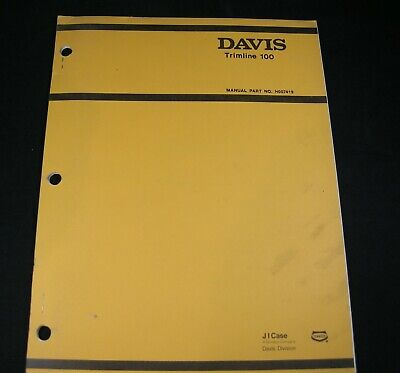 Case Davis Trimline 100 Trencher Digger Plow Parts Manual Book Catalog Tl100