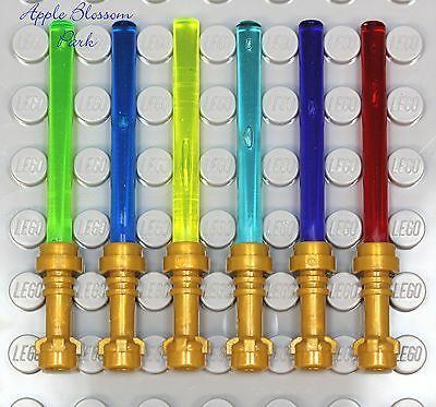 Lego Star Wars Set/6 Gold Hilt Light Sabers Minifig Weapon Red/blue/green/purple