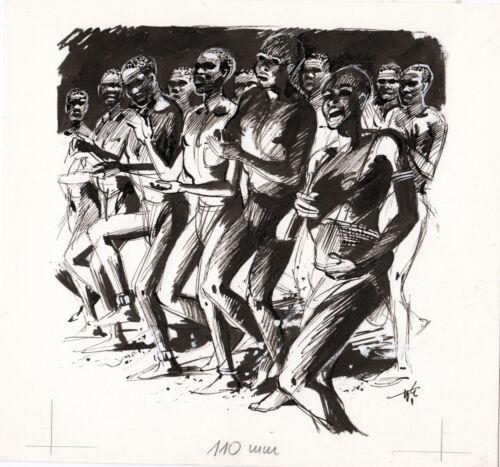 Originalzeichnung Wilhelm Eigener Afrika Farbige tanzend signiert Stempel Uganda