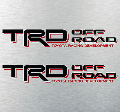 """TOYOTA TACOMA TRD OFF ROAD DECALS STICKERS (2) 18""""X3"""" DECALS BLACK & RED"""