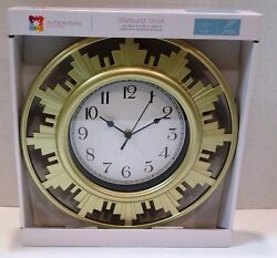 Interiors by Design Starburst Wall Clock Gold EASY TO READ Numbers - Metal
