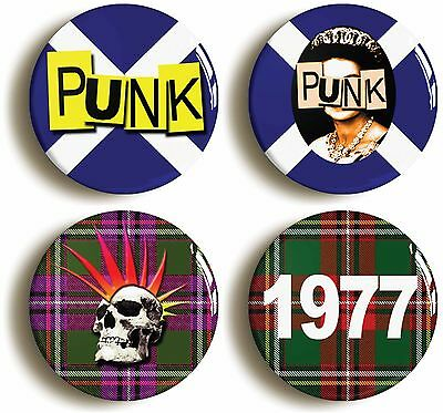 4x scottish punk badge button pins (1inch/25mm diameter) seventies tartan