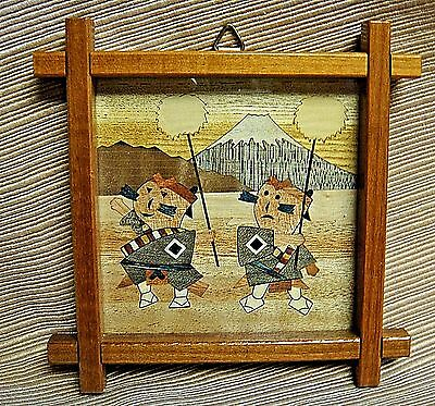 UNIQUE Framed Miniature WOODEN MOSAIC from JAPAN w/ Message Written on Back 1985