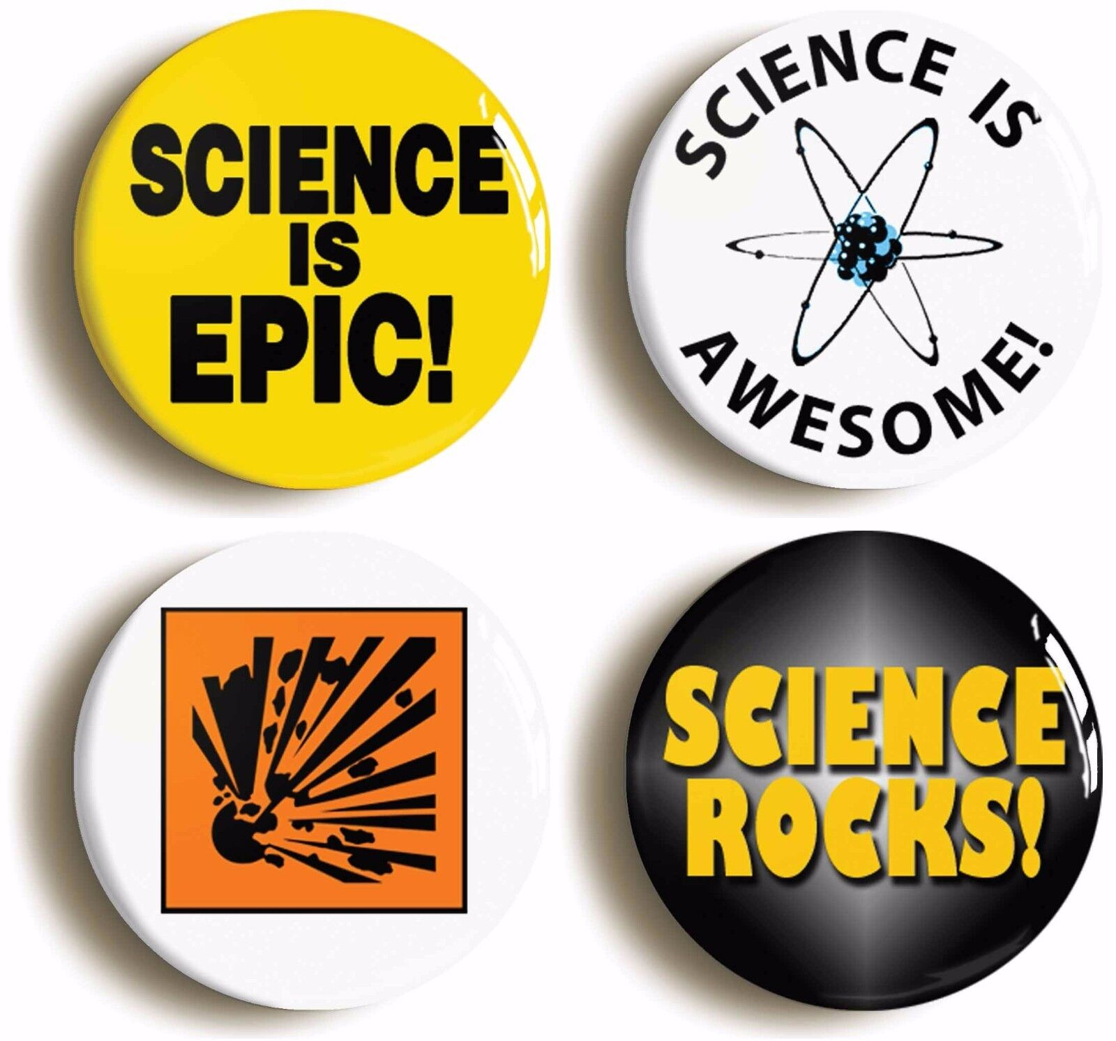 enthusiastic science geek badge button pin set (size is 1inch/25mm diameter)
