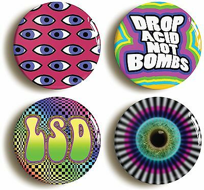 4 x psychedelic badge button pins (1inch/25mm diameter) sixties 1960s lsd acid