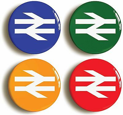 4x british rail railways badges buttons pins (1inch/25mm diamt) eighties 1980s
