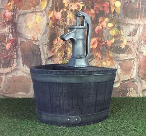 Garden planter whiskey barrel pump burnt oak cast for Whiskey barrel bathtub