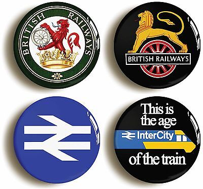 4 x british rail railways retro logo badges buttons pins (1inch/25mm diameter)