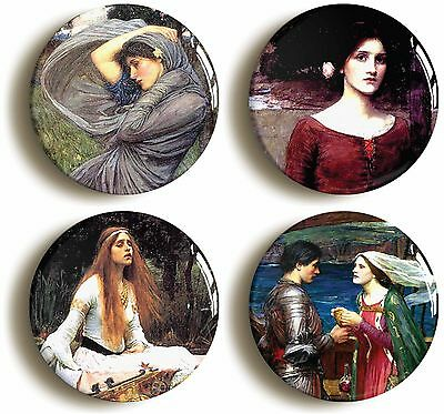 4x pre-raphaelite badges buttons pins (1inch/25mm diamt) john william waterhouse