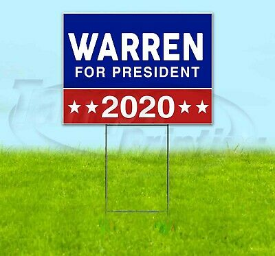 Warren For President 2020 18x24 Yard Sign Corrugated Plastic Lawn Usa Election