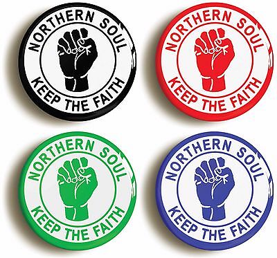 northern soul keep the faith badge button pin set (size is 1inch/25mm diameter)