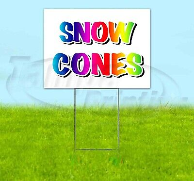 Snow Cones 18x24 Yard Sign Corrugated Plastic Bandit Lawn Business Usa Rainbow