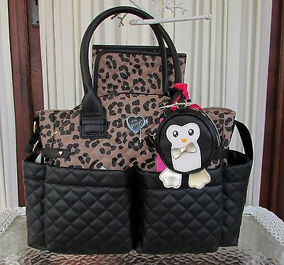 Betsey Johnson Downtown Diamond Quilt Diaper Bag Weekender Leopard NWT