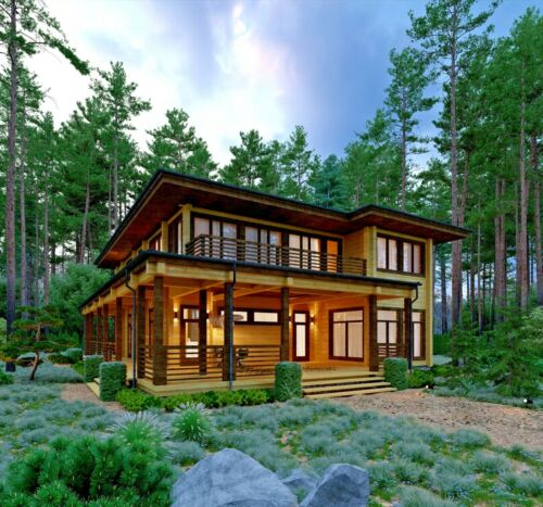2917 SQ.FT ECO SOLID TIMBER AIRTIGHT PANEL HOUSE KIT. MASS WOOD CLT HOME, PREFAB