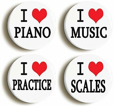 4 x i heart love piano badge button pins (1inch/25mm) music teacher school