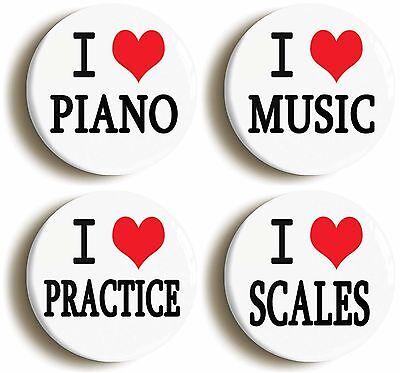 4 x i heart love piano badge button pins (1inch/25mm) music teacher school