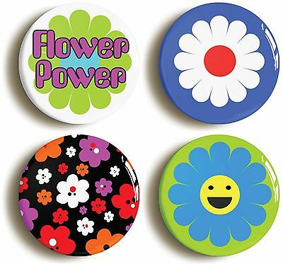 flower power badge button pin set (size is 1inch/25mm diameter) sixties hippie