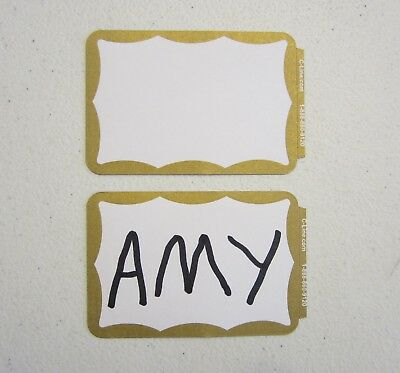 10 Gold Border Badges Name Tags Labels Id Stickers Peel And Stick Adhesive