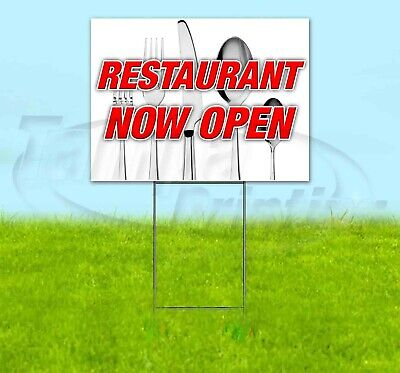 Restaurant Now Open 18x24 Yard Sign Corrugated Plastic Bandit Lawn Decoration