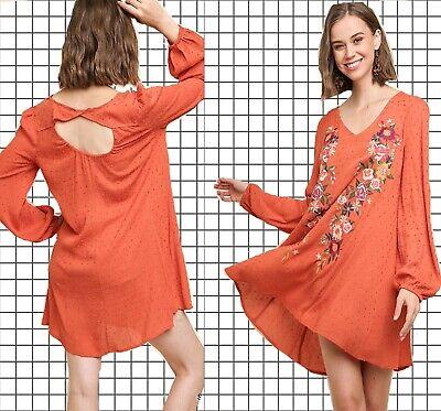 PLUS XL-1XL-2XL UMGEE SUNSET Embroidered Peek Back Swing Dress/Tunic - Sunset Dress
