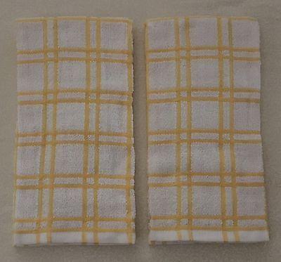 2 Golden YELLOW & Cream PLAID Windowpane Terry Cloth Kitchen Towels 16